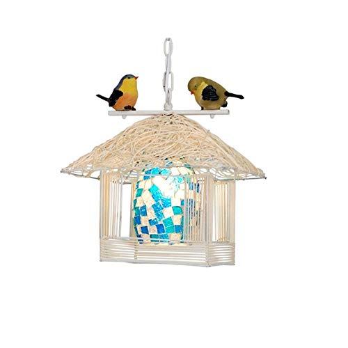 Plafondlamp lampenkap hanglamp in Nido-vorm met vogelhoofd, plafondlamp in druppelvorm met vogeltjes 30 cm x 30 cm x 32 cm