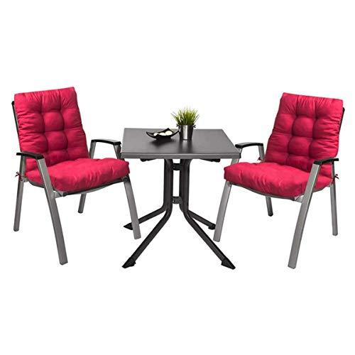 Pack 2 Cojines con Respaldo de Silla Jardin Conjunto Cojin de Asiento para Interior y Exterior Cómodo. Cojines para sillas Comedor, mecedoras, bancosterraza (Rojo)