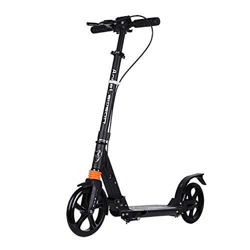 Tretroller mit 2 Big Wheels, Leicht Folding Einstellbare Höhe, Trick Scooter mit Handbremse Freestyle Scooters für Jungen und Mädchen,Schwarz