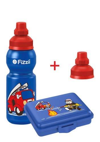 Fizzii Set Trinkflasche 330ml + Brotdose (schadstofffrei, spülmaschinenfest, Motiv: Feuerwehr)