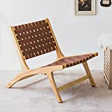 Brown Leather Woven Accent Chair, Cognac Lounger Chairs Indoor Midcentury Modern Oversized Patio Recliner Wood Frame Most Comfortable Leisure for Reading Outdoor Garden Balcony Bedroom Living room Tan