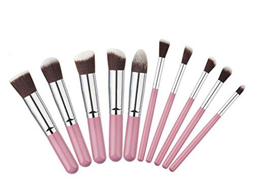 Drawihi 10 Pcs Pinceau de Maquillage Mini Pinceau de Maquillage Cosmétique Ensembles Outils Rose+Café