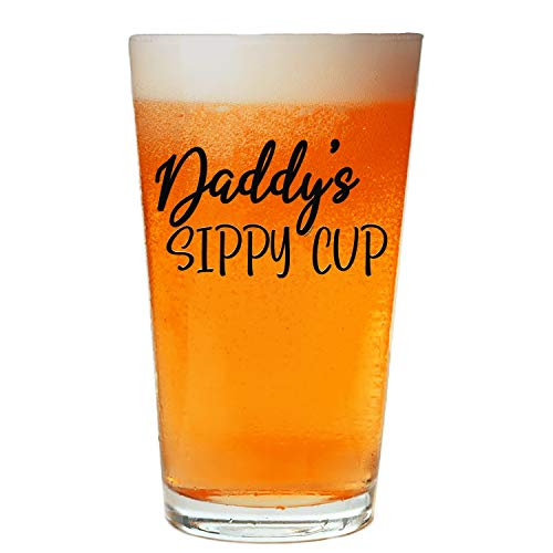 NeeNoNex Daddy's Sippy Cup Beer Pint - Funny Birthday Gift For Dad From Daughter Son Wife - Black_Print