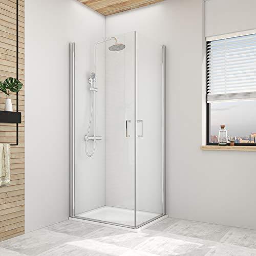 Hausbath Duschkabine 75x75cm Eckeinstieg Duschabtrennung Doppel Schwingtür Duschtür Nische Pendeltür Duschwand Beidseitiger Nano-Beschichtung Höhe 195cm