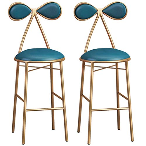 MTYLX Bar, Caffè, Caffè, Sedia Ristorante, Set Di 2 Pcs Pub Bar Sgabello Sgabello Sedia con Poiapiedi Europeo Modern Trucco Altezza 45/65 / 75 cm,Blu,65 Cm.