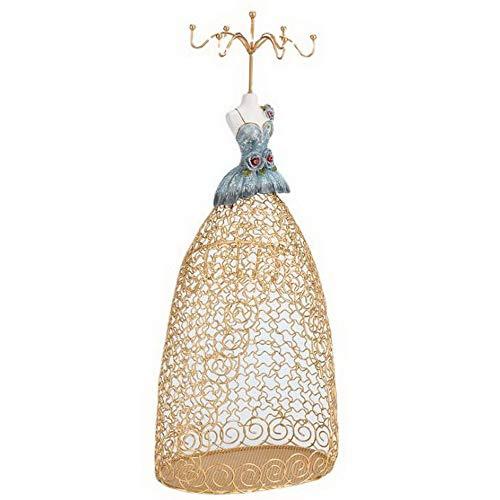 Exquisitamente maniquí soporte para collar, exhibición de joyas, collar, aretes, pulseras, organizador, estante para decoración de torre para mujeres y niñas, oro