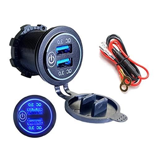 Yuwe Quick Charge 3.0 USB Car Cargador de Coche 12V / 24V 36W Dual QC3.0 USB Cargador rápido Toma de Corriente con voltímetro LED para Marina, Barco, Motocicleta, camión, Carro de Golf