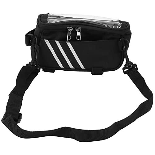 Bolsa para bicicleta, bolsa sensible para bicicleta resistente al desgaste con gancho multipunto para herramientas de mantenimiento para carteras para bombas de neumáticos pequeñas(black, 3*8*4inches)