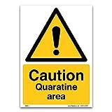 Cartello della zona della quarantena, formato A3, in plastica rigida da 1 mm, per la salute e la sicurezza, igiene e il rischio di virus