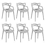 SEDIA IN POLIPROPILENE SET da 6 sedie GRIGIO design moderno sala da pranzo soggiorno cucina ufficio Heron