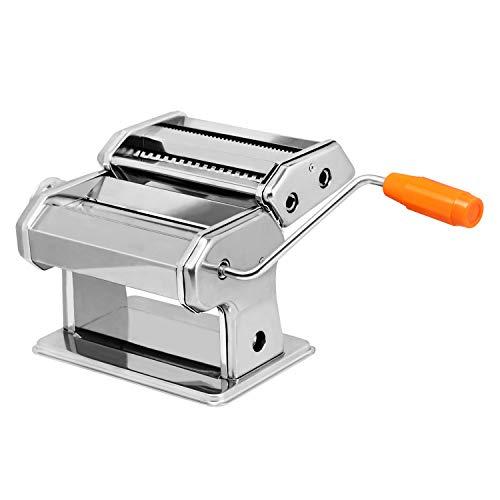 AufuN Nudelmaschine Edelstahl Pastamaker Frische Manuell Pasta Walze Maschine für 8 Verschiedene Teigdicken