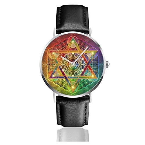 Metatron's Cube con Merkabah y Flor de la Vida Correa de Cuero Reloj de Pulsera Casual clásico Acero Inoxidable Cuarzo Negocios Reloj