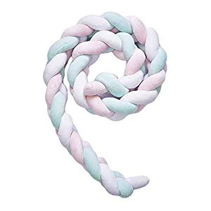 Wonder Space Soft Knot Plush Pillow – Braided Baby Crib Bumper, Fashion Nursery Cradle Decor for Baby Toddler and Childern (Pink/Blue/White, 118IN / 3M)