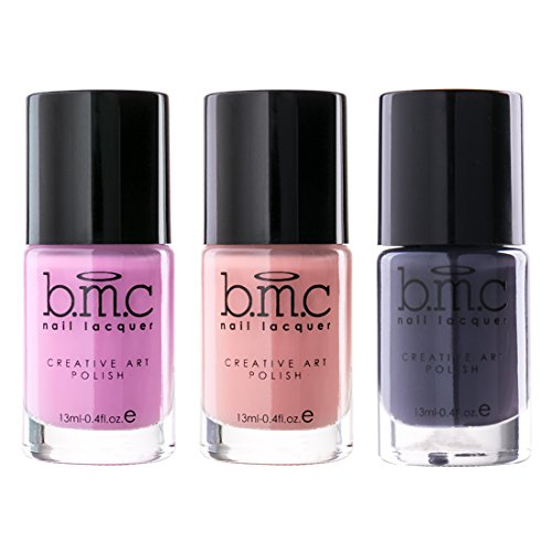 Maniology (formerly bmc) 3pc Perennials Cream Nail Stamping Polish Set - Spring Inspired Highly Pigmented Fingernail Art Lacquer for DIY Manicures & Pedicures - Assorted Packs : Dusty Pink, Salmon Pink, Dark Purple