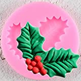 UNIYA Molde de silicona para decoración navideña, diseño de hojas Holly Leaf