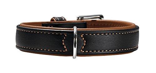 HUNTER CANADIAN Hundehalsband, Leder, hochwertig, weich, 55 (M), schwarz/cognac