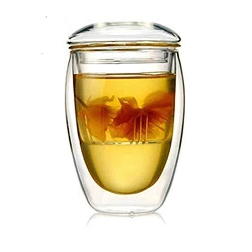 Taza de té de doble pared con tetera y tapa con protección contra el calor