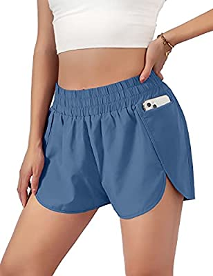 """Blooming Jelly Womens Quick-Dry Running Shorts Sport Layer Elastic Waist Active Gym Shorts with Pockets 1.75"""" (Medium, Royal Blue)"""