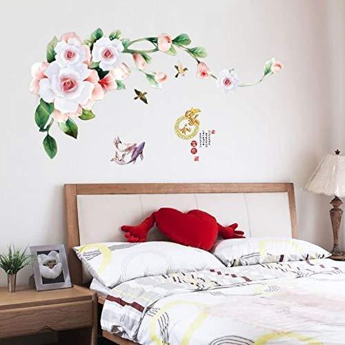 Nuovo 3D Deluxe Blooming Peony Wall Sticker Art Deco Applique rimovibile Wall Sticker Murale 68 * 136