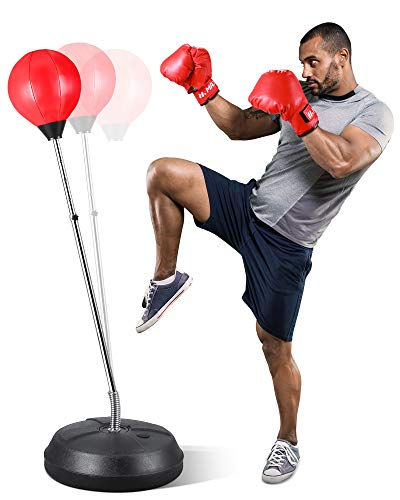 MaxKare Punching Bag with Stand-for Adults & Kids | Boxing Gloves Included | Adjustable Height | Speed Reflex Training Stress Relief Boxing Equipment for Home Gym