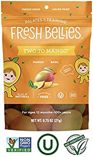 Fresh Bellies Vegan Snacks for Kids and Toddlers, No Added Sugars, Gluten Free, Paleo Friendly, Only 3 Ingredients, Non GMO, Kosher, 6 Pack - Two to Mango, 6 pack