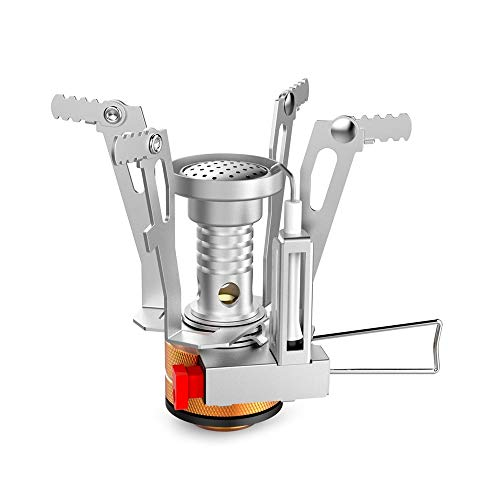 USAMY Ultralight Portable Pocket Camping Stoves Backpacking Stove with Piezo Ignition Adjustable Valve Stainless Steel Material for Backpacking, Hiking, Riding, Mountaineering, Camping(1 Pack