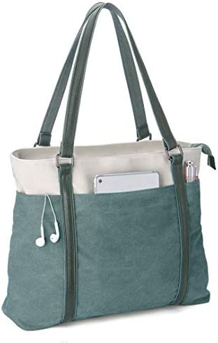 Wxnow 15 6 inch Canvas Business Bags for Women Canvas Work Bag Computer Tote Laptop Purse School product image
