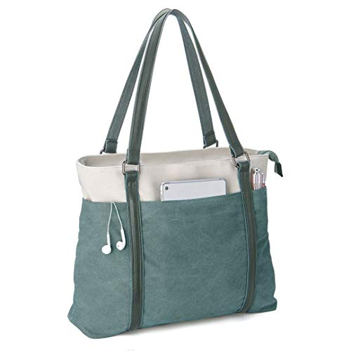 Wxnow 15.6 inch Canvas Business Bags for Women Canvas Work Bag Computer Tote Laptop Purse School Shoulder Bag Green