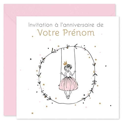 popcarte 16 Cartes d'Invitation Anniversaire Enfant Fille • Personnalisables avec Votre Prénom • Texte à remplir à la Main au Verso • Enveloppes Roses Inclus • 14x14 cm