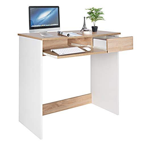 Escritorio para computadora, Escritorio de Madera con cajones de alacena y Bandeja para Teclado Mesa de PC para Adultos y niños, 80 x 45 x 75 cm Haya y Blanco