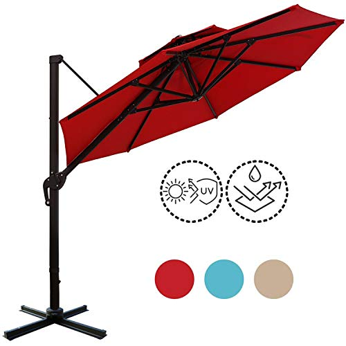Sunnyglade 11ft Double Top Patio Offset Hanging Umbrella Round Deluxe Outdoor Cantilever Umbrella with Easy Tilt for Garden, Backyard, Patio,Pool(Tan)