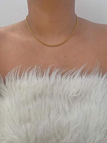 Vintage Style Gold Stainless Steel Rope Chain Necklace