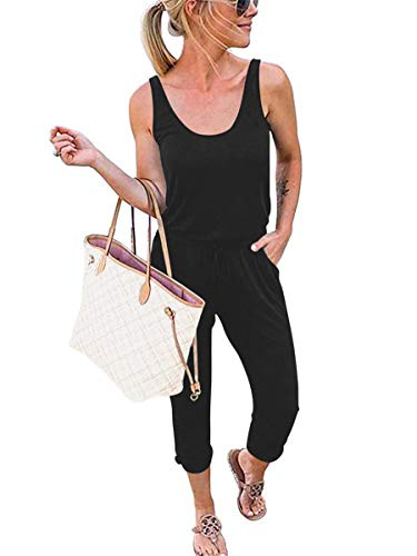 Prinbara Women Summer Solid Casual Loose Sleeveless Rompers Elastic Waist Jumpsuit Rompers Black 2PA08-heise-M