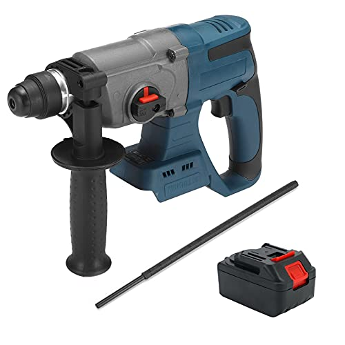 SIRUL Cordless Hammer Drill, 18V Rotary Hammer 6200Rpm, SDS-Plus Chuck &2.0Ah Battery Drill, 3-in-1 Mode Brushless Impact Drill, 360°Adjustable Handle,1Pcs battery