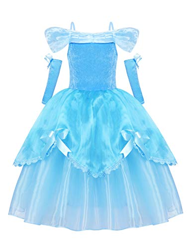 Jurebecia Vestido de Princesa Disfraces De Niñas Traje Fiesta De Cumpleaños De Halloween Carnaval Cosplay Party Dress up Disfraces con Accesorios Set Blanco