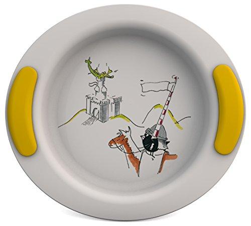 Ornamin Assiette Creuse pour Enfants Ø 25 cm Dragon/Jaune Mélamine (Modèle 302) / assiette enfant, assiette bébé, vaisselle enfants