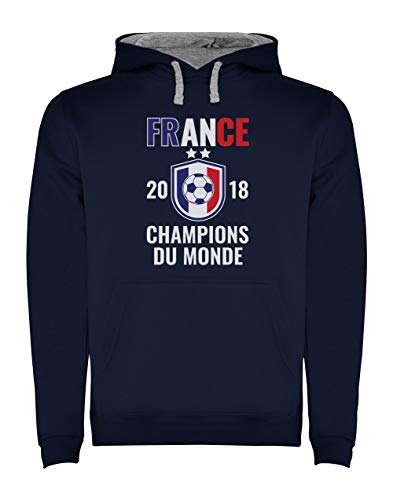 France Les Bleus Champions du Monde Football 2018 Sweatshirt Capuche Homme Medium Marine