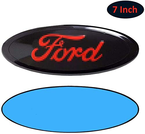 Autaces 7inch For-d Emblem, Front Grille Tailgate Emblem Adhesive Tape Sticker Badge Compatible with For-d Escape Excursion Expedition Freestyle F-150 F-250 F350(7 inch Black+Red)