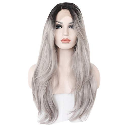 JALAL Grey Black Roots Natural Straight Soft Hair Synthetic Lace Front Wig pour Les Femmes
