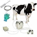 Cow Milking Machine,Pulsation Vacuum Pump Milker,Milking Supplies,Portable Suction Machine for Jerseys,Nigerian Dwarfs,Nubian Mix…