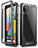 Poetic Guardian Series Case Designed for Google Pixel 4 XL 6.3 inch (2019 Release), Full-Body Hybrid Shockproof Bumper Cover with Built-in-Screen Protector, Black/Clear