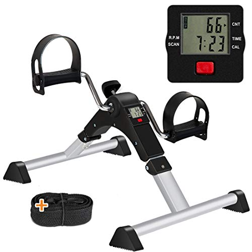 GOREDI Under Desk Bike Pedal Exerciser, Folding Exercise Bike for Arm/Leg Exercise, Pedal Exerciser Desk Bike with LCD Display (Black)