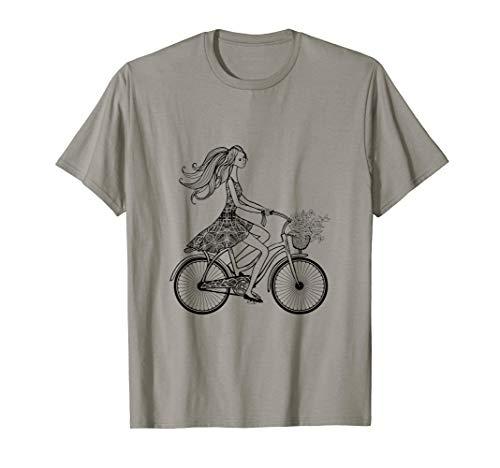 Weinlese-Fahrrad: Mädchen, das Retro Fahrrad fährt T-Shirt