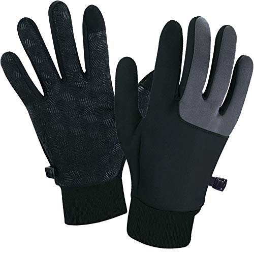 SUOYANA Winter Gloves Touch Screen Gloves Warm Waterproof Windproof Full Palm Non-Slip Lightweight for Women and Men Running,Walking,Cycling,Driving in Cold Weather (Black,Small)