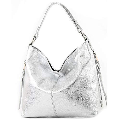 modamoda de Damen Schultertasche, Leder T160, Farbe:T160 Silber