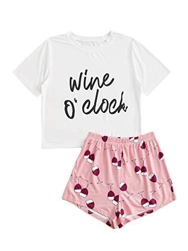 SOLY HUX Women's Letter Print Short Sleeve Sleepwear Tee & Shorts Cute Pajama Set White M