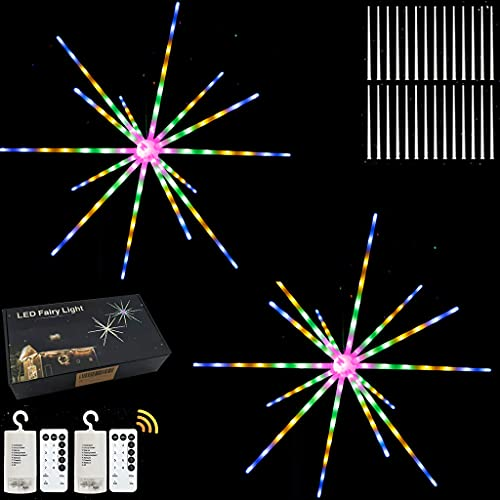 Starburst Firework Lights 2 Pack Led Copper Wire String Light Waterproof 8 Modes Battery Powered Fairy Hanging Lighting with Remote for Christmas Indoor Outdoor Party Patio Wedding Decoration