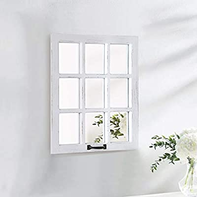 LOSOUR Decorative Mirror-Distressed Wood Windowpane Mirror- Rustic Home Decoration Window Frame Wall Mirror with Hanging Hardware for Bedroom Living Room Bathroom Kitchen (?, 18Wx23L)