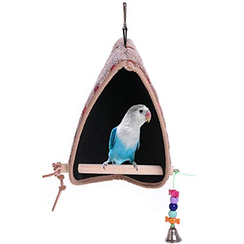 QBLEEV Bird Winter Plush Hut Tent Nest Stand Parrot Bed Sleep Parakeet Cage Cave Cockatiel Birdcage Hanging Decor Perch Ladder Habitat Winter Warm Birdhouse for Small Animals Conure Cockatoo Finch
