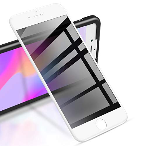 """RIWNNI [2 Stück] Sichtschutz Panzerglas für iPhone 8 Plus/7 Plus (5.5\""""), Anti Spy Panzerglasfolie, Blickschutzfolie Displayschutz Glas Folie Full Screen Schutzfolie mit Positionierhilfe - Weiß"""